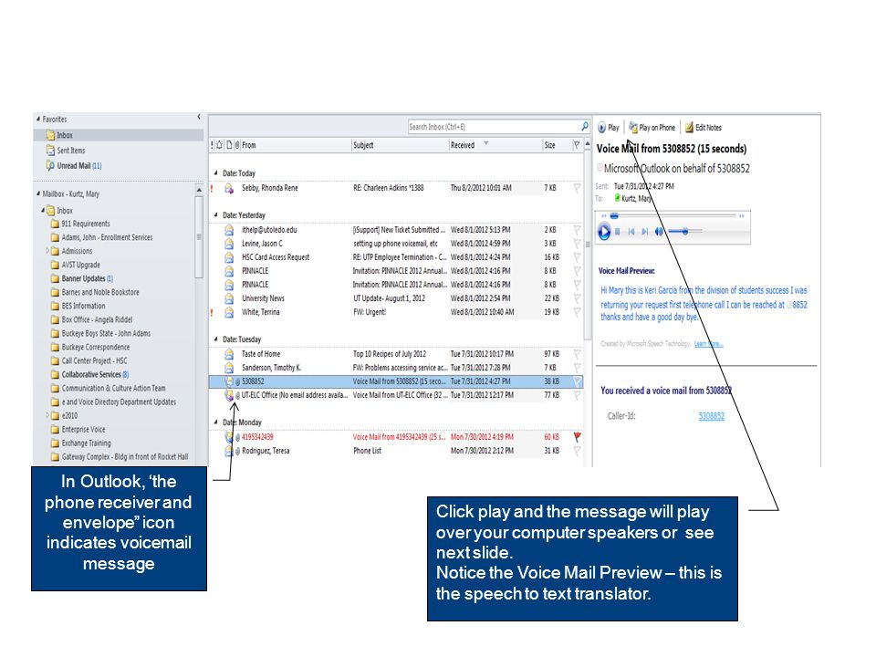 Inbox with Unified Messages Now that you have seen how the call flow process works when your telephone is forwarded to the Unified Message system, lets take a closer look at an Outlook Inbox.