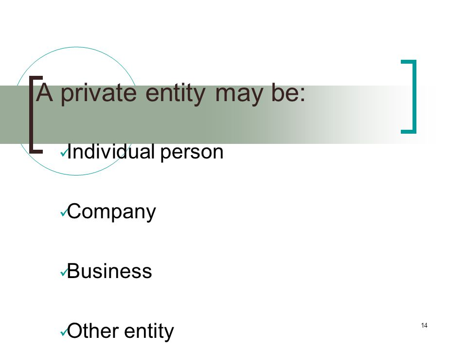14 A private entity may be: Individual person Company Business Other entity