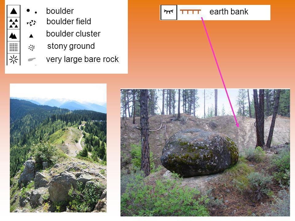 boulder boulder field boulder cluster stony ground very large bare rock earth bank