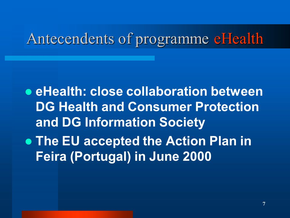 18 Declaration - Main Aspects Promoting quality and enhancing efficiency in health care through eHealth applications Facilitating citizen involvement through access to high quality information Implementing and sharing best practices in eHealth Looking to the future Full exploitation of eHealth goes beyond local information systems and Internet based provision of information to integrate eEurope action plan 2005 coordination with eHealth Continuous development, implementation R&D support growing up to 3% of GDP Second eHealth Conference 2004, Ireland