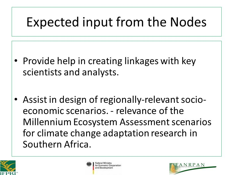 Provide help in creating linkages with key scientists and analysts.