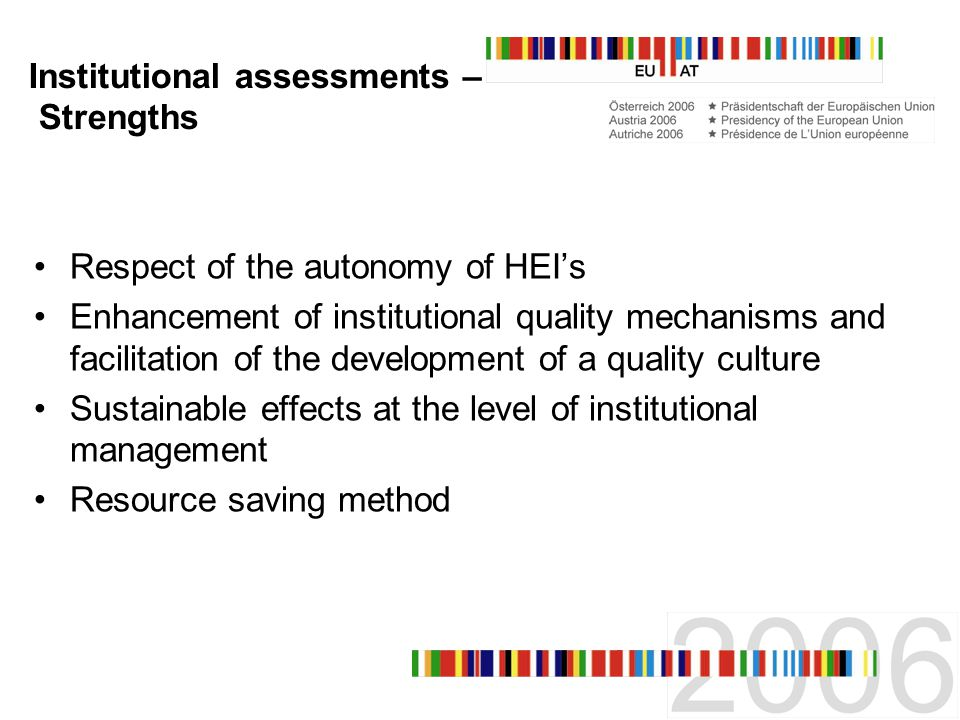 Institutional assessments – Strengths Respect of the autonomy of HEIs Enhancement of institutional quality mechanisms and facilitation of the development of a quality culture Sustainable effects at the level of institutional management Resource saving method