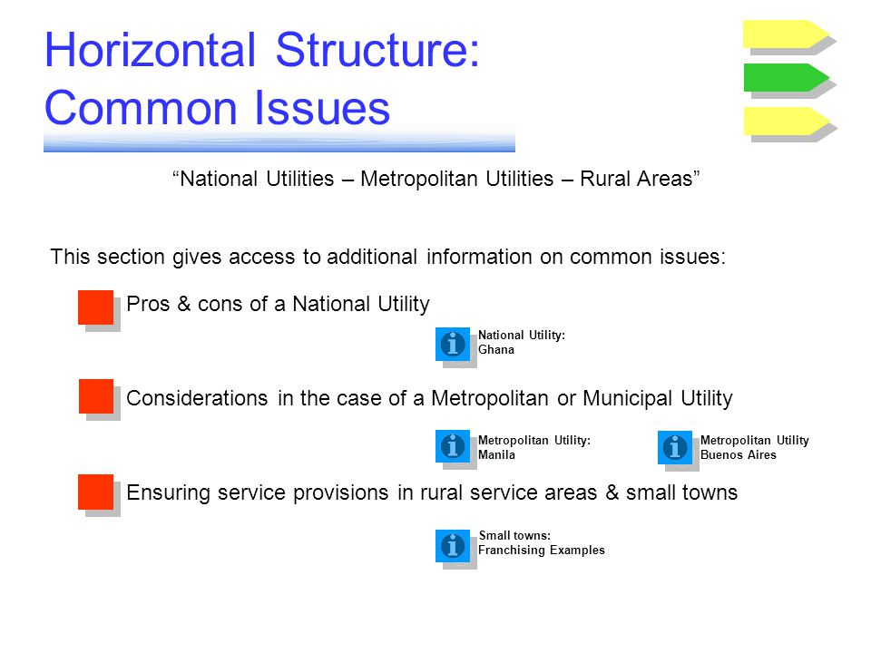 Horizontal Structure: Common Issues National Utilities – Metropolitan Utilities – Rural Areas This section gives access to additional information on c
