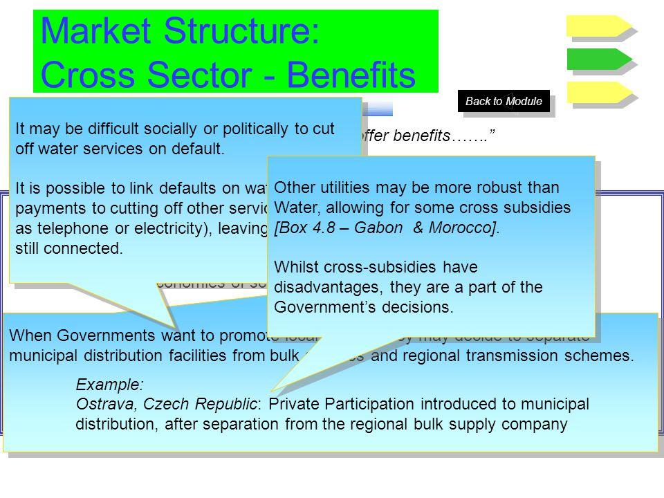 Market Structure: Cross Sector - Benefits Grouping services can offer benefits……. Possible benefits of grouping services together include: Economies o