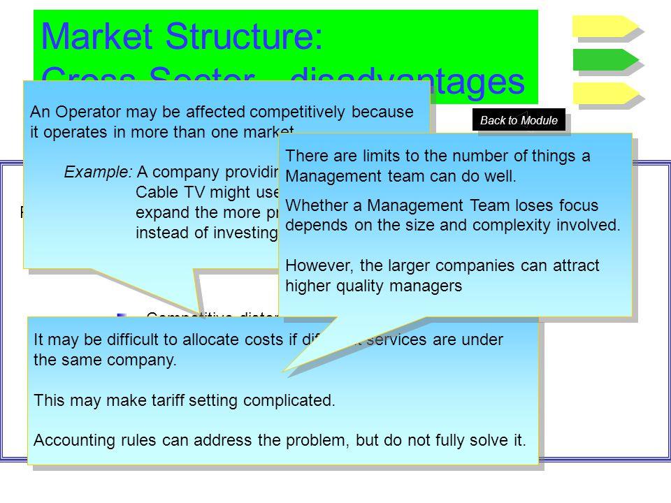 Market Structure: Cross Sector - disadvantages ……Grouping services can also pose disadvantages Possible disadvantages of grouping services together in