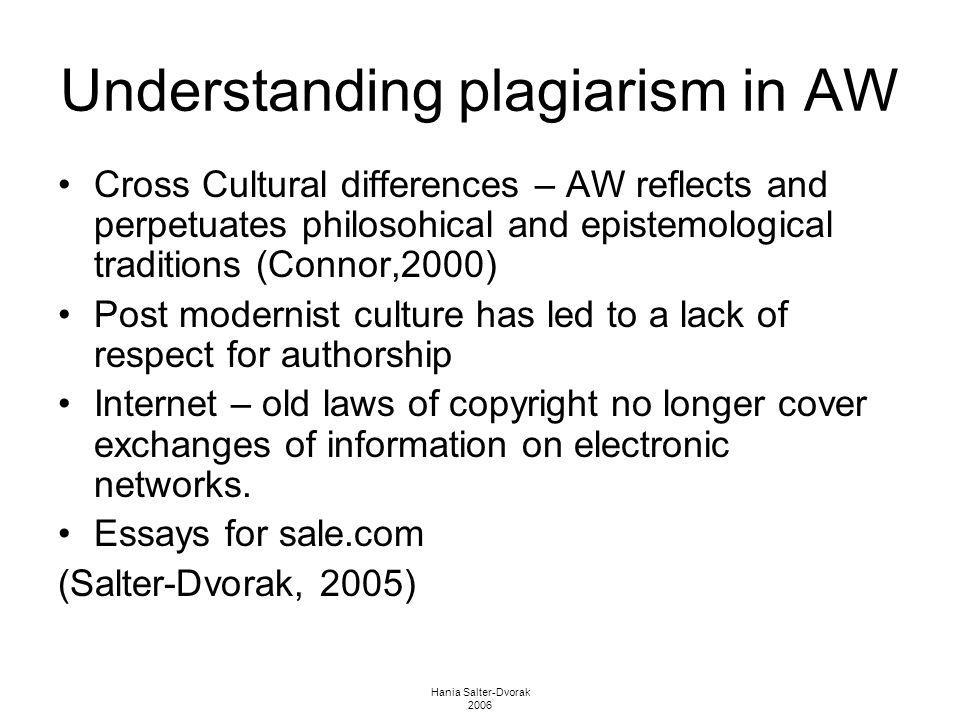 Hania Salter-Dvorak 2006 Understanding plagiarism in AW Cross Cultural differences – AW reflects and perpetuates philosohical and epistemological trad