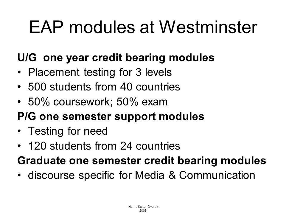 Hania Salter-Dvorak 2006 EAP modules at Westminster U/G one year credit bearing modules Placement testing for 3 levels 500 students from 40 countries