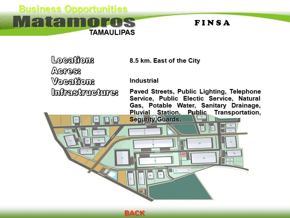 Business Opportunities TAMAULIPAS F I N S AF I N S A BACK 8.5 km. East of the City Industrial Paved Streets, Public Lighting, Telephone Service, Publi