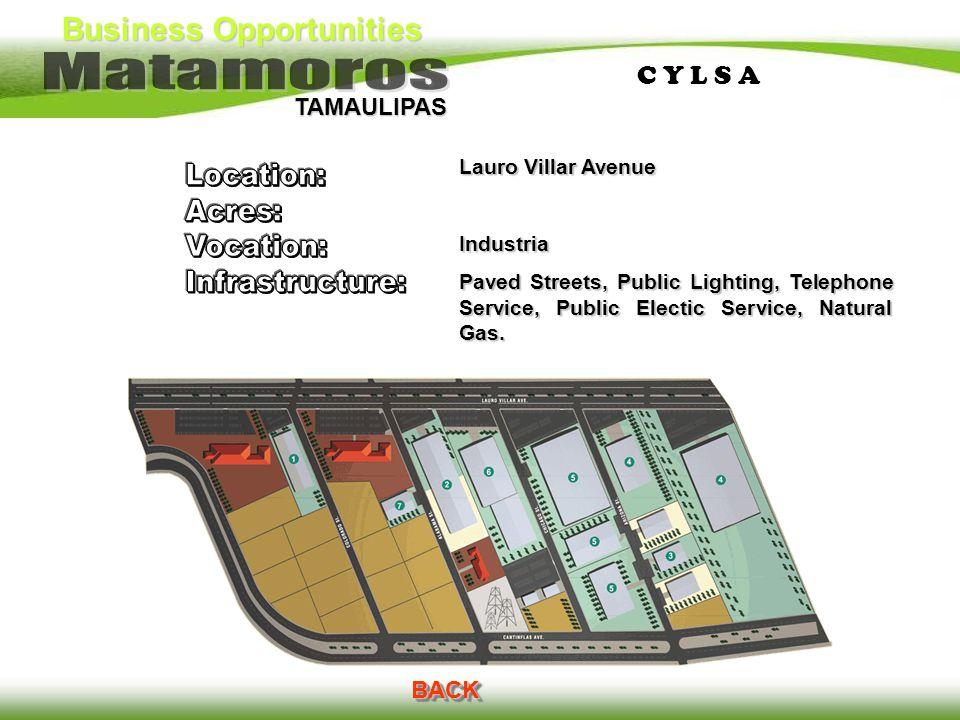 Business Opportunities TAMAULIPAS C Y L S AC Y L S A BACK Lauro Villar Avenue Industria Paved Streets, Public Lighting, Telephone Service, Public Elec