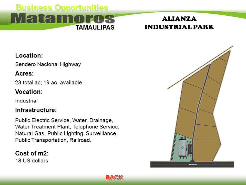 Business Opportunities TAMAULIPAS ALIANZA INDUSTRIAL PARK Location: Sendero Nacional Highway Acres: 23 total ac; 19 ac. available Vocation:IndustrialI