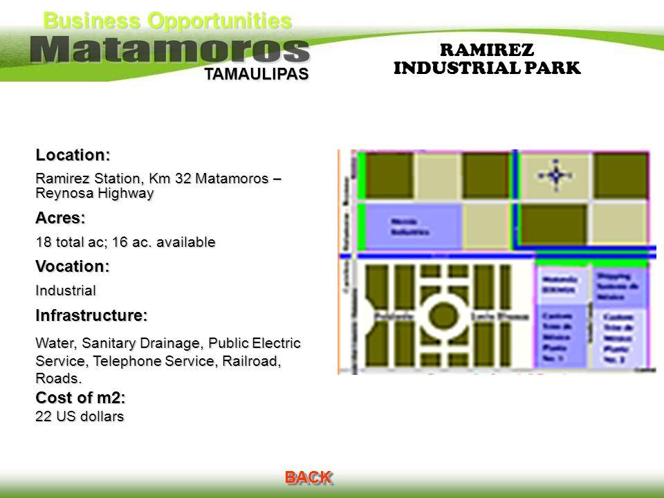 Business Opportunities TAMAULIPAS RAMIREZ INDUSTRIAL PARK BACK Location: Ramirez Station, Km 32 Matamoros – Reynosa Highway Acres: 18 total ac; 16 ac.