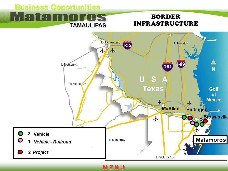 Business Opportunities TAMAULIPAS I-35 281 I-69 Brownsville Harlingen McAllen to Houston to San Antonio to Monterrey to Victoria City U S A Texas 3 1