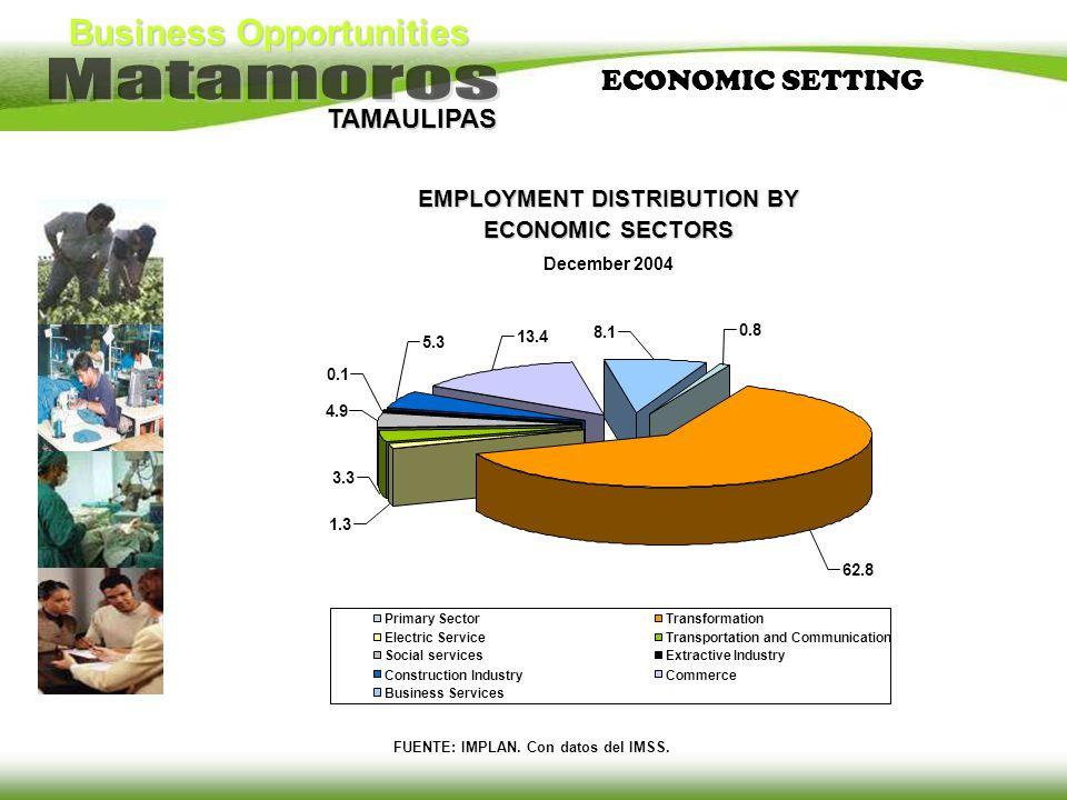 TAMAULIPAS EMPLOYMENT DISTRIBUTION BY ECONOMIC SECTORS December 2004 FUENTE: IMPLAN. Con datos del IMSS. ECONOMIC SETTING 62.8 0.8 8.1 13.4 5.3 0.1 4.