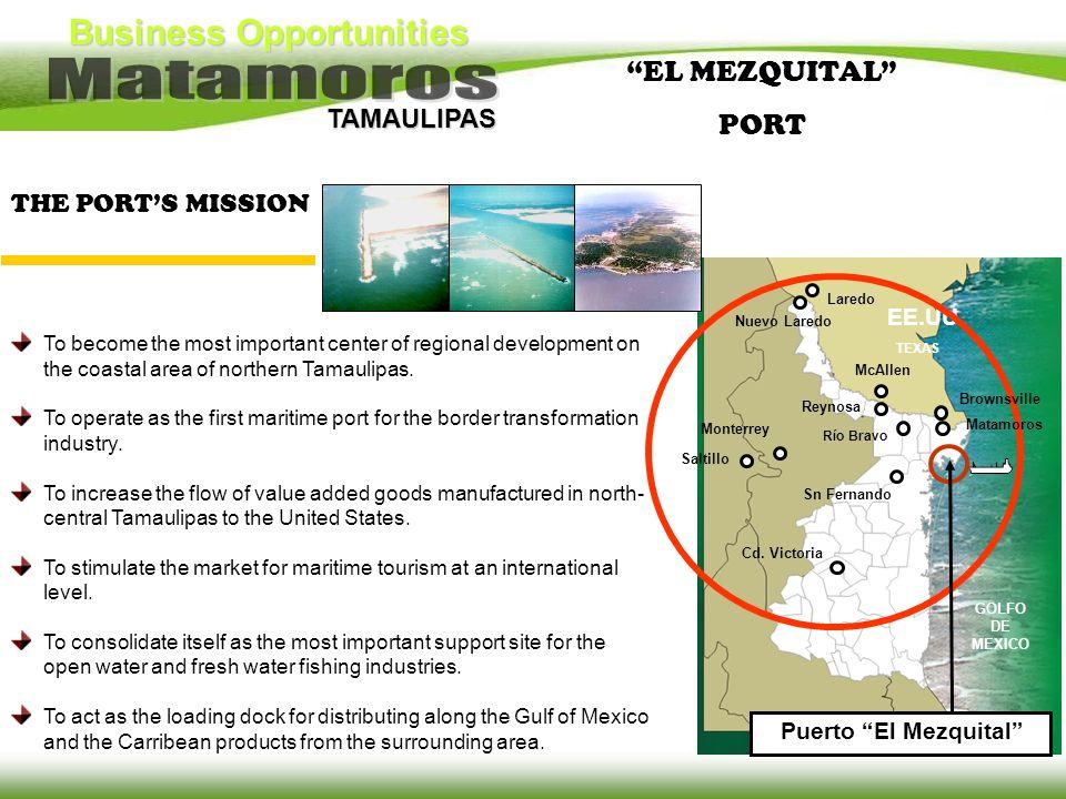 Business Opportunities TAMAULIPAS TEXAS EE.UU. Monterrey Saltillo Reynosa Cd. Victoria Río Bravo McAllen Laredo Sn Fernando Puerto El Mezquital GOLFO