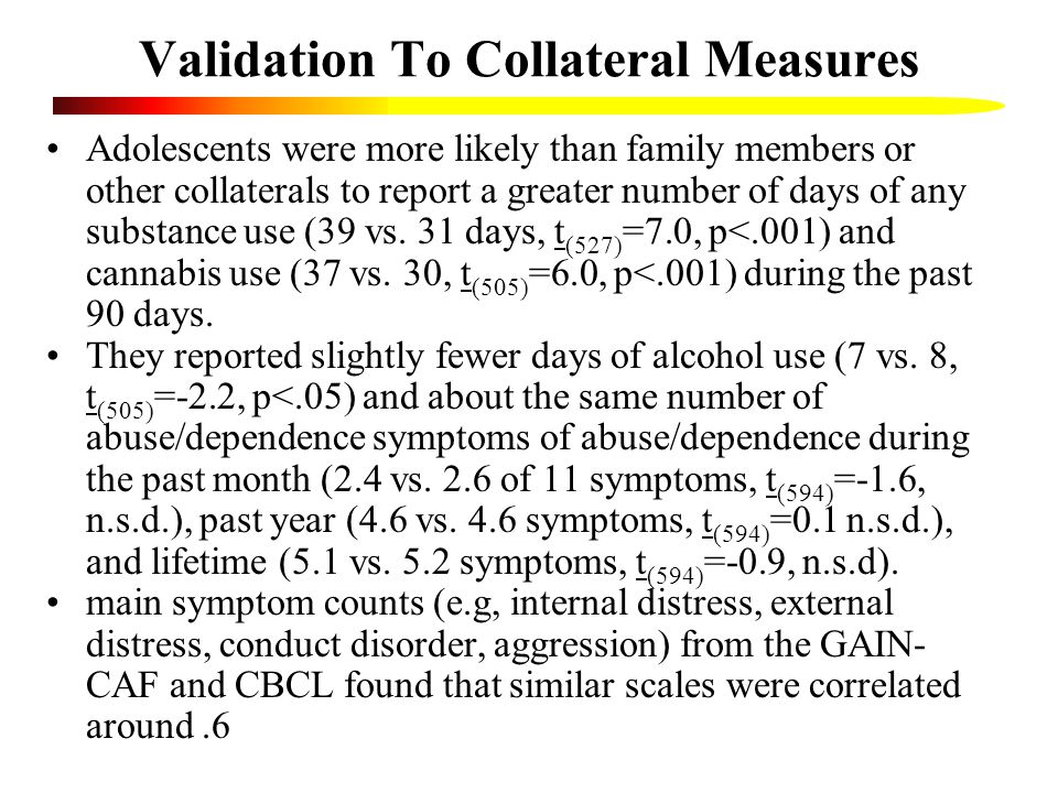 Validation To Collateral Measures Adolescents were more likely than family members or other collaterals to report a greater number of days of any substance use (39 vs.