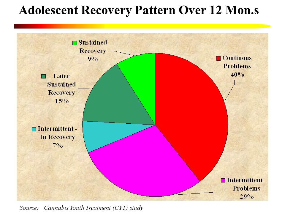 Adolescent Recovery Pattern Over 12 Mon.s Source: Cannabis Youth Treatment (CYT) study