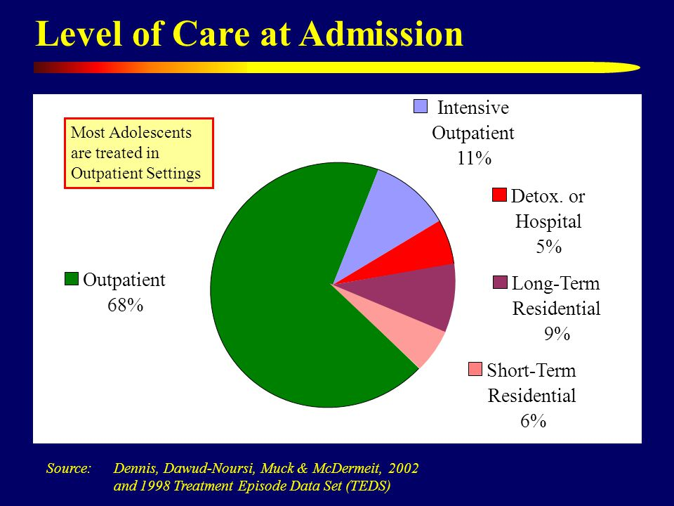 Level of Care at Admission Intensive Outpatient 11% Detox.