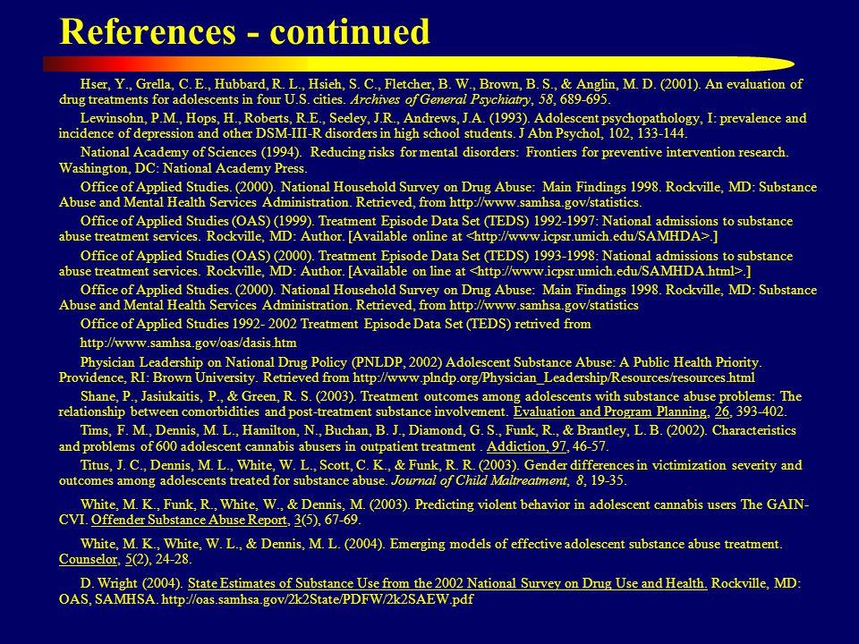 References - continued Hser, Y., Grella, C. E., Hubbard, R. L., Hsieh, S. C., Fletcher, B. W., Brown, B. S., & Anglin, M. D. (2001). An evaluation of