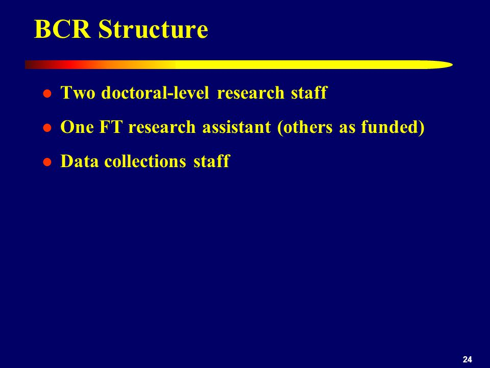 24 BCR Structure Two doctoral-level research staff One FT research assistant (others as funded) Data collections staff