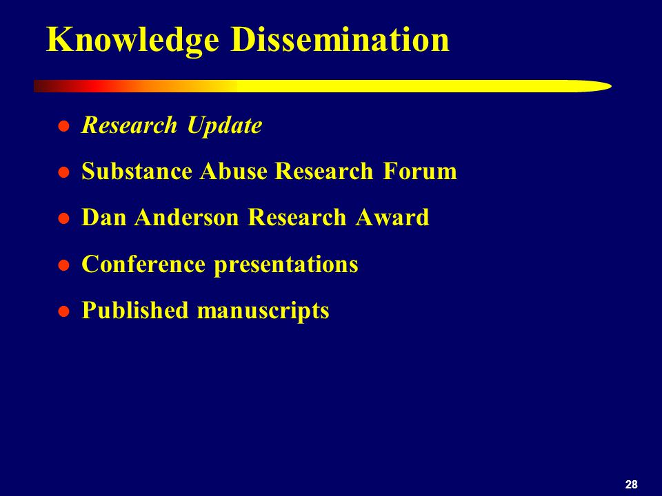 28 Knowledge Dissemination Research Update Substance Abuse Research Forum Dan Anderson Research Award Conference presentations Published manuscripts