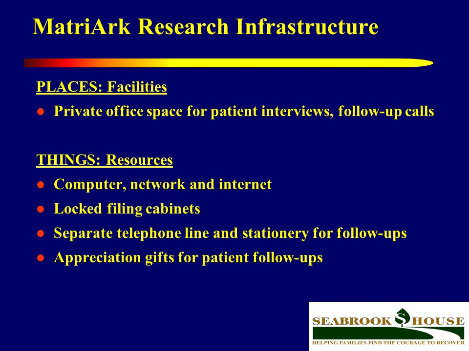 41 MatriArk Research Infrastructure PLACES: Facilities Private office space for patient interviews, follow-up calls THINGS: Resources Computer, networ