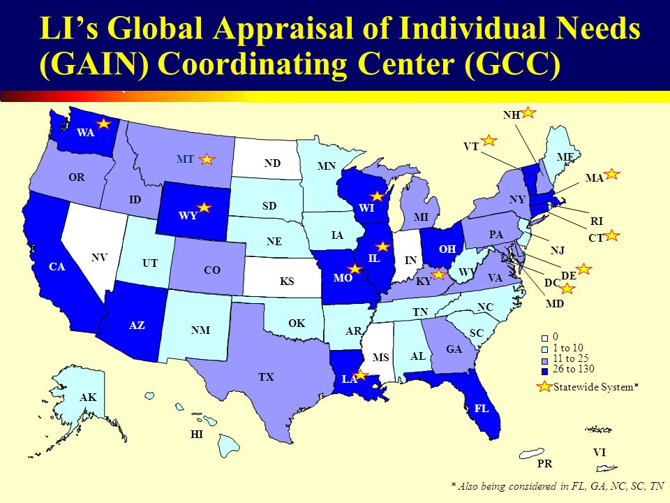 51 LIs Global Appraisal of Individual Needs (GAIN) Coordinating Center (GCC) VI 0 1 to 10 11 to 25 26 to 130 IN KS ME MS MT ND NE NV PR HI NM SD AL AR