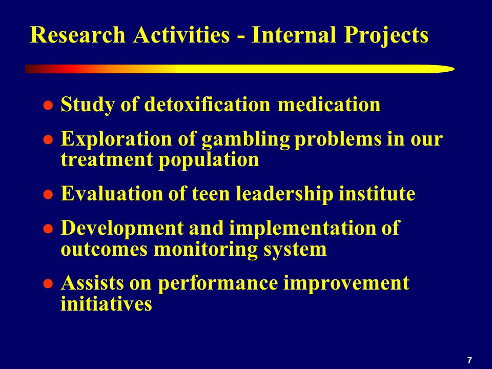 8 Research Activities - External Projects Gateway has long history of collaboration with university-based research…recent endeavors include 1980s & 1990s – Washington and Jefferson College and Indiana University of Pennsylvania: inpatient and outpatient treatment outcomes 1992 – today – University of Pittsburgh Medical Center, WPIC: Pittsburgh Adolescent Alcohol Research Center 2003 – 2005 – University of Pittsburgh, School of Social Work: study of adult outcomes and spirituality 2006 – present – Washington University, School of Medicine: prescription abuse study
