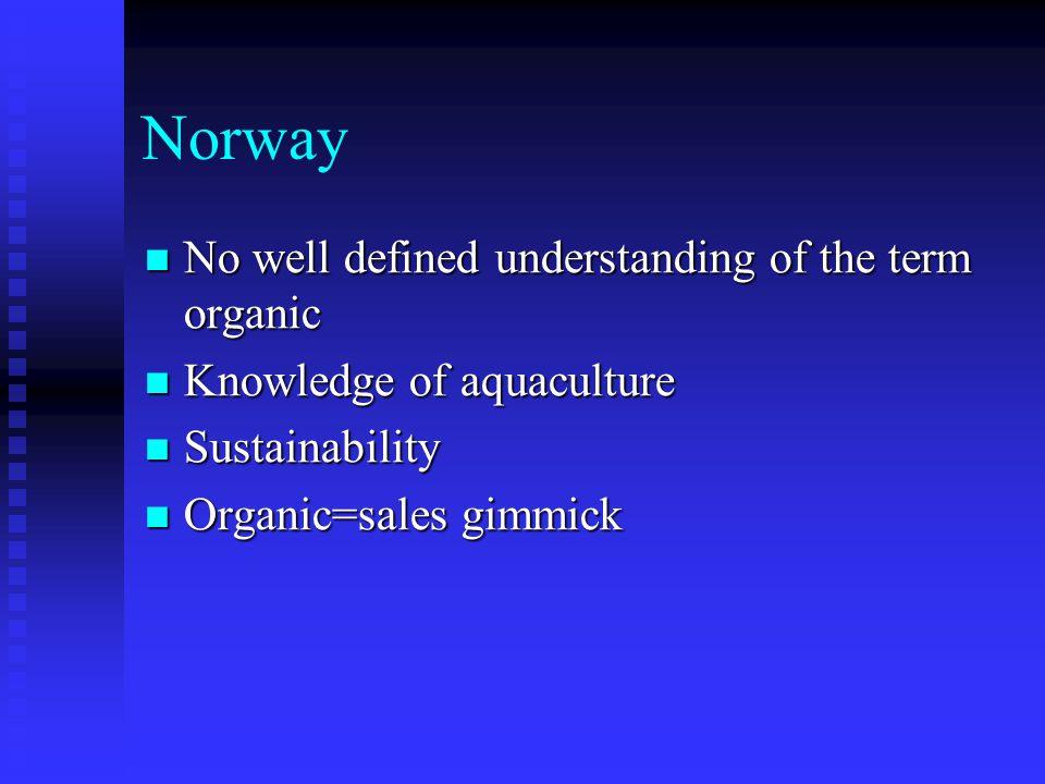 Norway No well defined understanding of the term organic No well defined understanding of the term organic Knowledge of aquaculture Knowledge of aquaculture Sustainability Sustainability Organic=sales gimmick Organic=sales gimmick
