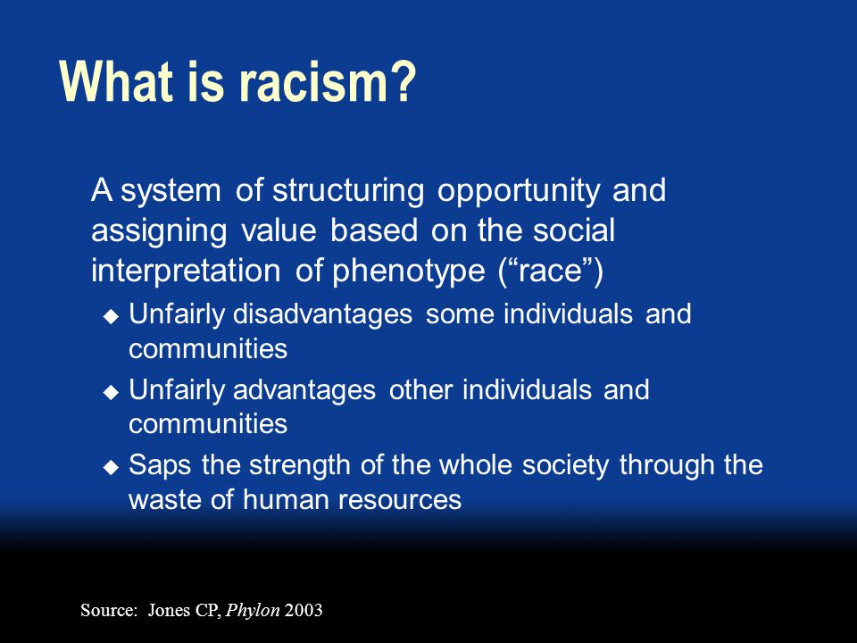 A system of structuring opportunity and assigning value based on the social interpretation of phenotype (race) Unfairly disadvantages some individuals and communities Unfairly advantages other individuals and communities Saps the strength of the whole society through the waste of human resources What is racism.