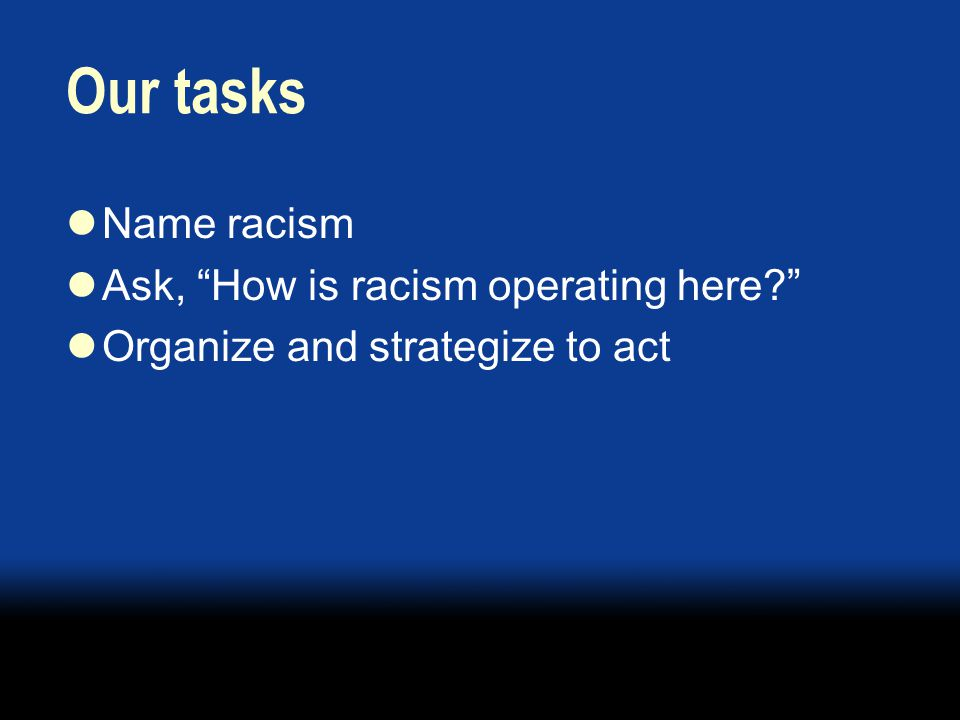 Our tasks Name racism Ask, How is racism operating here Organize and strategize to act