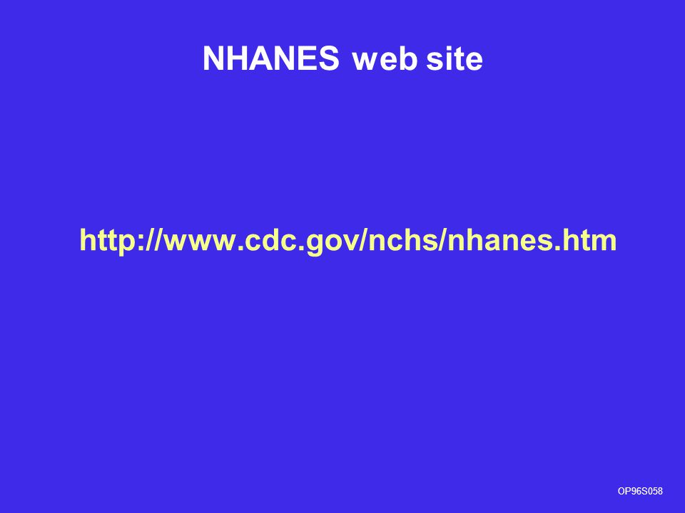 NHANES web site http://www.cdc.gov/nchs/nhanes.htm OP96S058