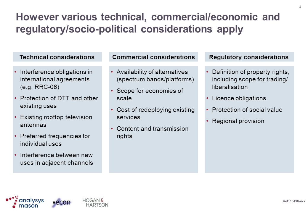 3 Ref: 13496-472 However various technical, commercial/economic and regulatory/socio-political considerations apply Technical considerationsCommercial considerationsRegulatory considerations Interference obligations in international agreements (e.g.