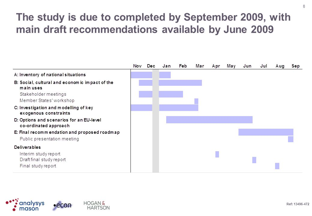 8 Ref: 13496-472 The study is due to completed by September 2009, with main draft recommendations available by June 2009