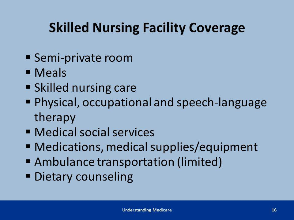 Skilled Nursing Facility Coverage Semi-private room Meals Skilled nursing care Physical, occupational and speech-language therapy Medical social servi
