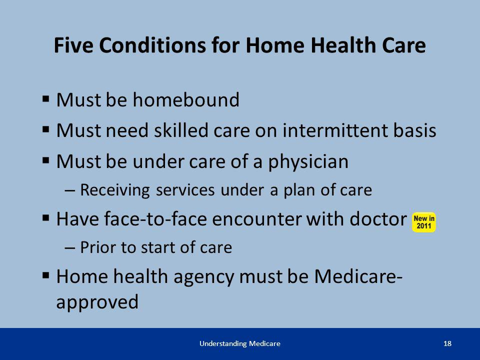 Five Conditions for Home Health Care Must be homebound Must need skilled care on intermittent basis Must be under care of a physician – Receiving serv