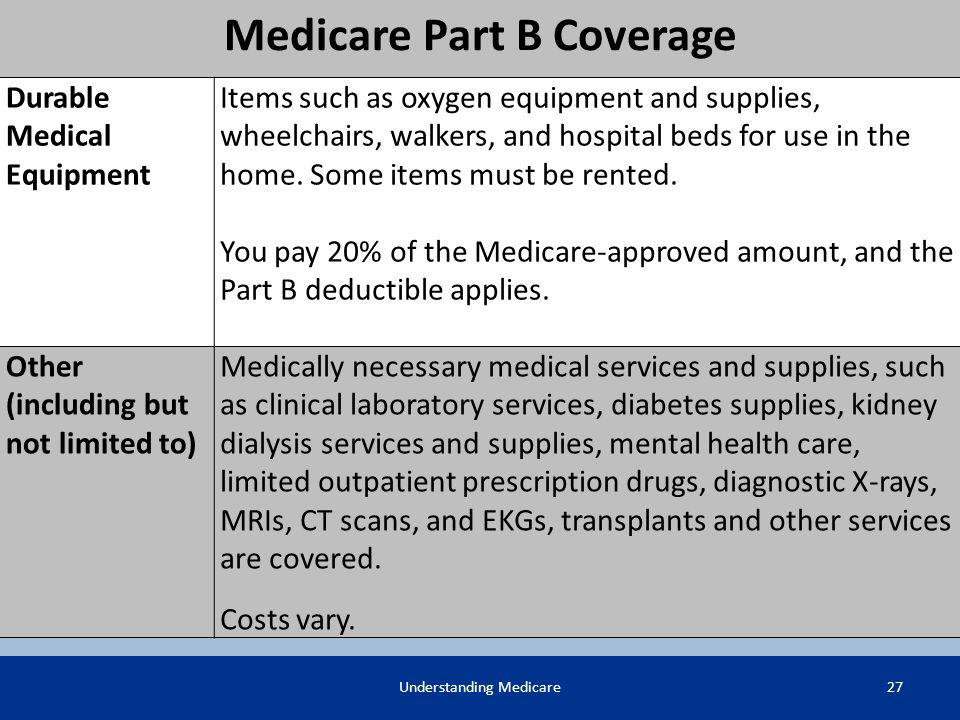 Medicare Part B Coverage Durable Medical Equipment Items such as oxygen equipment and supplies, wheelchairs, walkers, and hospital beds for use in the
