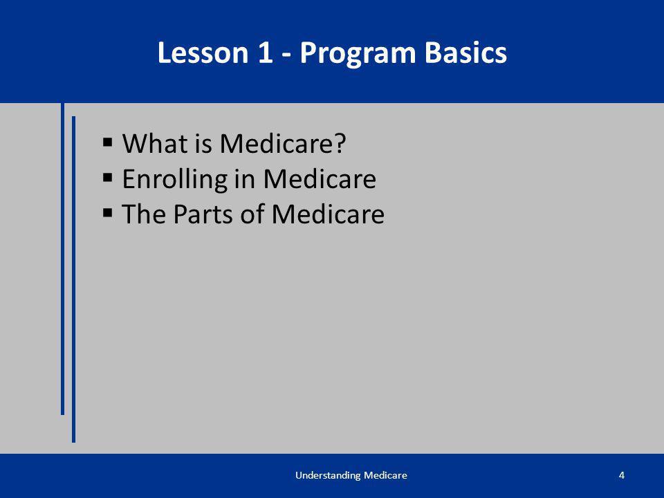 What is Medicare? Enrolling in Medicare The Parts of Medicare Understanding Medicare4 Lesson 1 - Program Basics