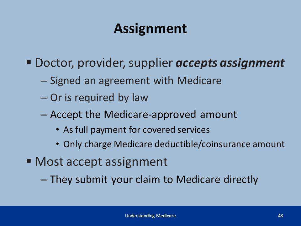 Assignment Doctor, provider, supplier accepts assignment – Signed an agreement with Medicare – Or is required by law – Accept the Medicare-approved am