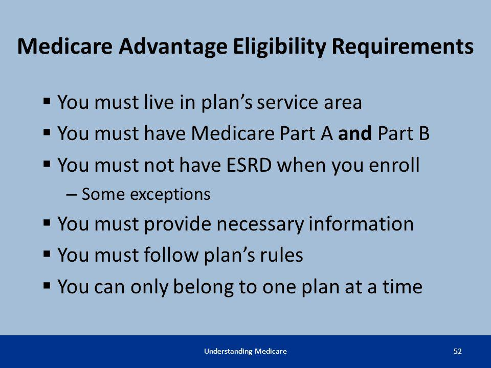 Medicare Advantage Eligibility Requirements You must live in plans service area You must have Medicare Part A and Part B You must not have ESRD when y