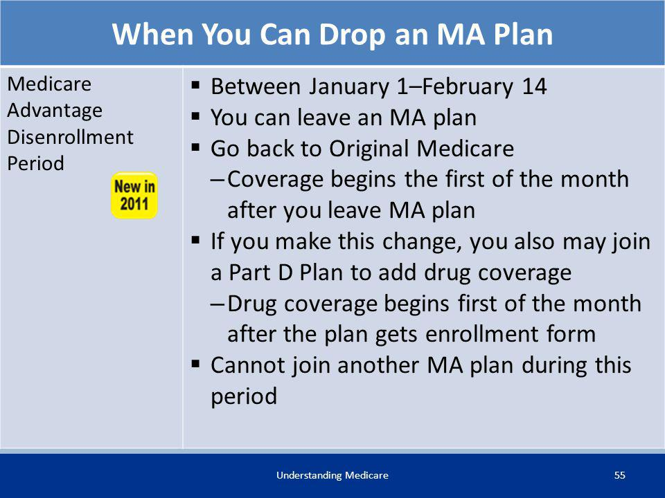 55Understanding Medicare When You Can Drop an MA Plan Medicare Advantage Disenrollment Period Between January 1–February 14 You can leave an MA plan G