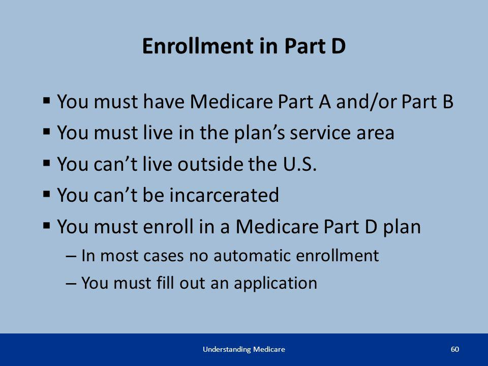 Enrollment in Part D You must have Medicare Part A and/or Part B You must live in the plans service area You cant live outside the U.S. You cant be in