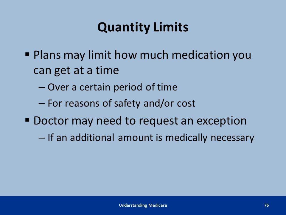 Quantity Limits Plans may limit how much medication you can get at a time – Over a certain period of time – For reasons of safety and/or cost Doctor m