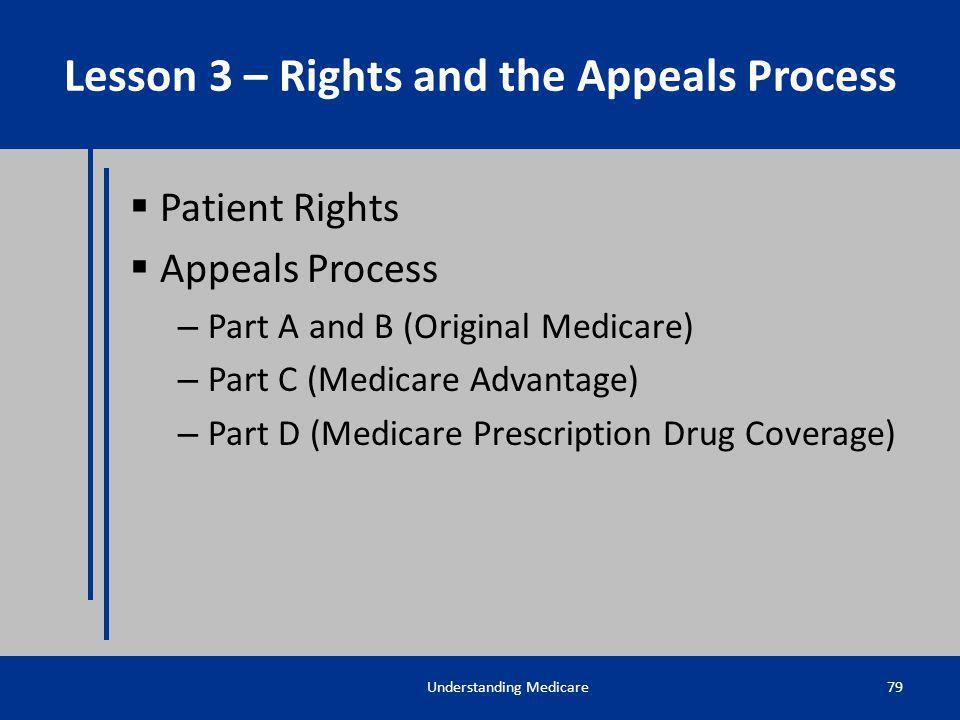 Patient Rights Appeals Process – Part A and B (Original Medicare) – Part C (Medicare Advantage) – Part D (Medicare Prescription Drug Coverage) Underst