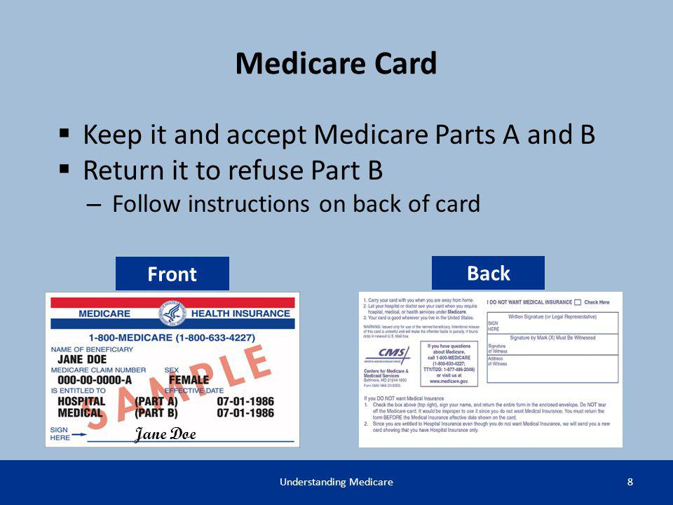 Medicare Card 8Understanding Medicare Jane Doe Keep it and accept Medicare Parts A and B Return it to refuse Part B – Follow instructions on back of c