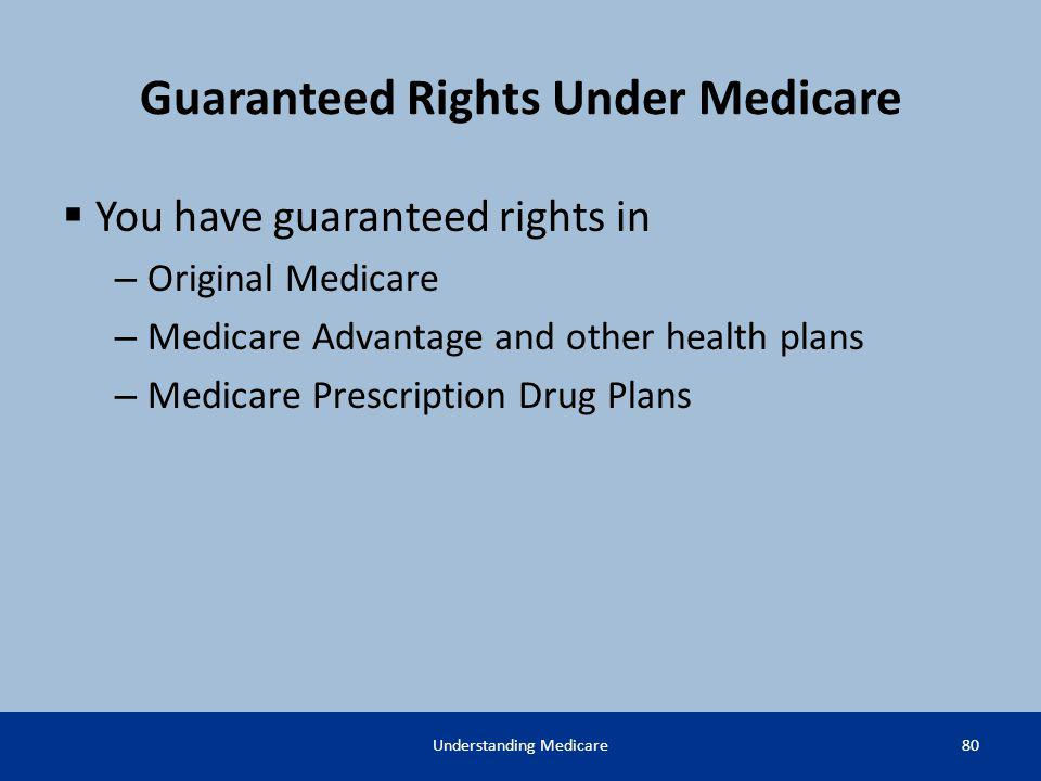 Guaranteed Rights Under Medicare You have guaranteed rights in – Original Medicare – Medicare Advantage and other health plans – Medicare Prescription