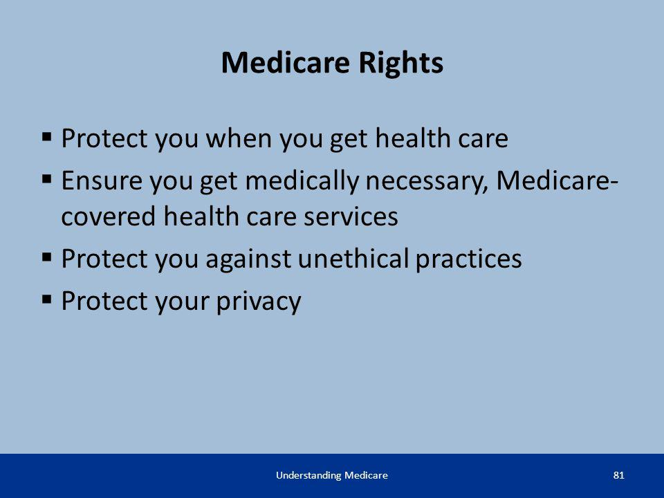 Medicare Rights Protect you when you get health care Ensure you get medically necessary, Medicare- covered health care services Protect you against un