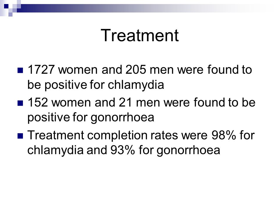 Treatment 1727 women and 205 men were found to be positive for chlamydia 152 women and 21 men were found to be positive for gonorrhoea Treatment compl
