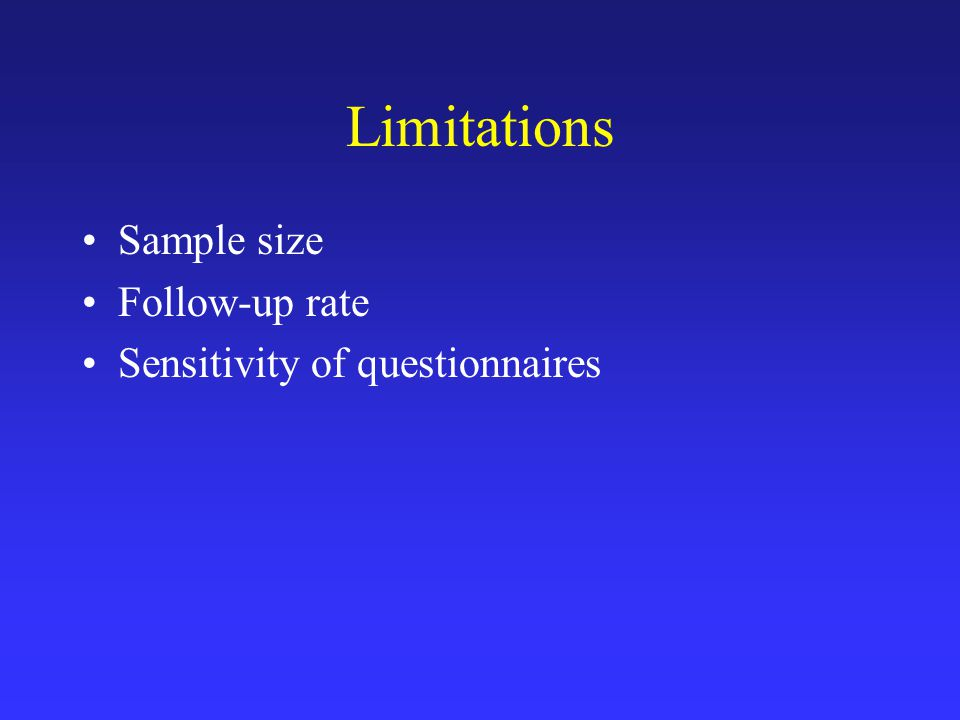 Limitations Sample size Follow-up rate Sensitivity of questionnaires