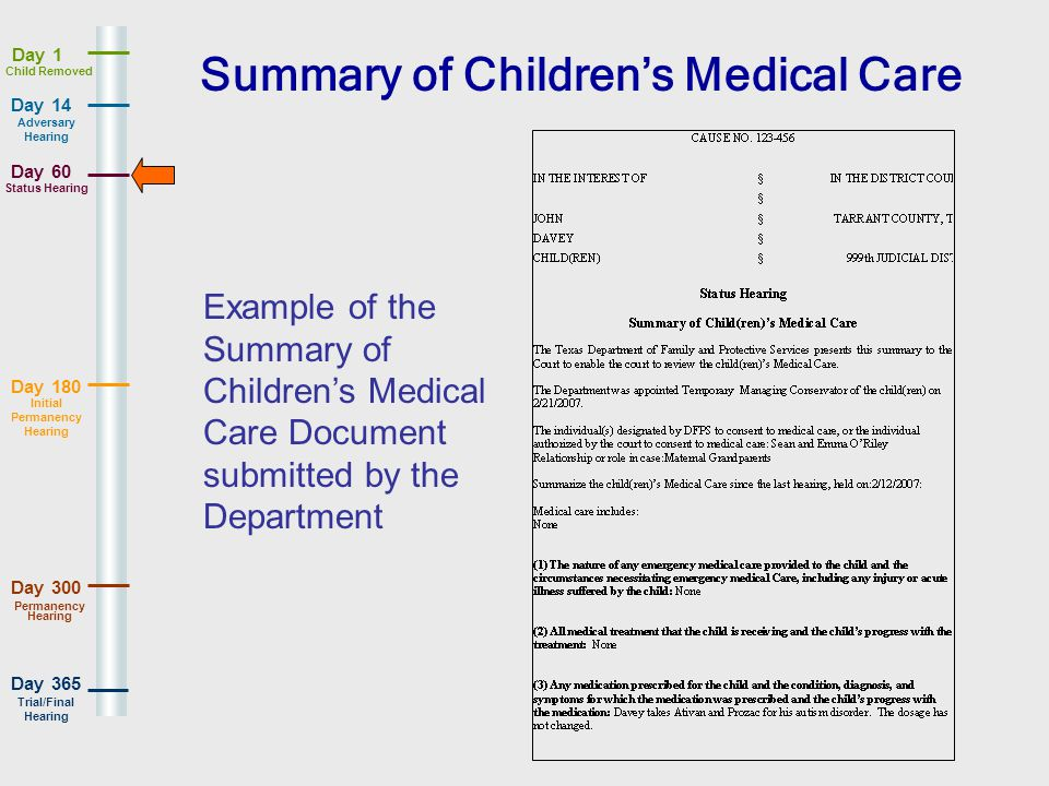 Day 180 Day 365 Day 14 Day 60 Day 1 Day 300 Adversary Hearing Status Hearing Initial Permanency Hearing Permanency Hearing Trial/Final Hearing Child Removed Summary of Childrens Medical Care Example of the Summary of Childrens Medical Care Document submitted by the Department