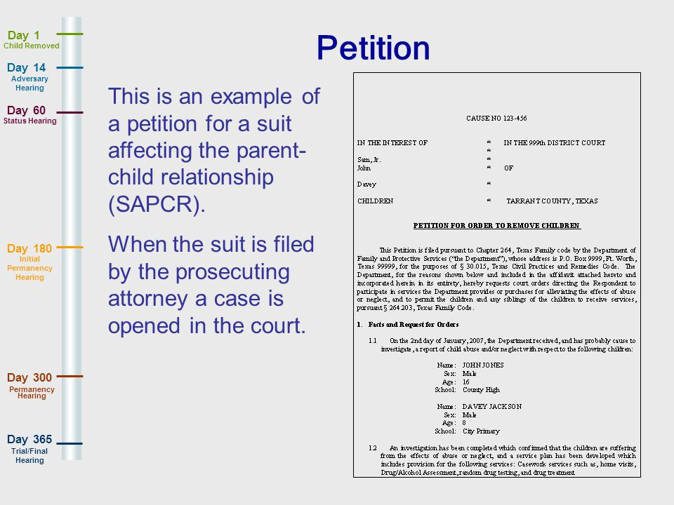 Day 180 Day 365 Day 14 Day 60 Day 1 Day 300 Adversary Hearing Status Hearing Initial Permanency Hearing Permanency Hearing Trial/Final Hearing Child Removed Petition This is an example of a petition for a suit affecting the parent- child relationship (SAPCR).